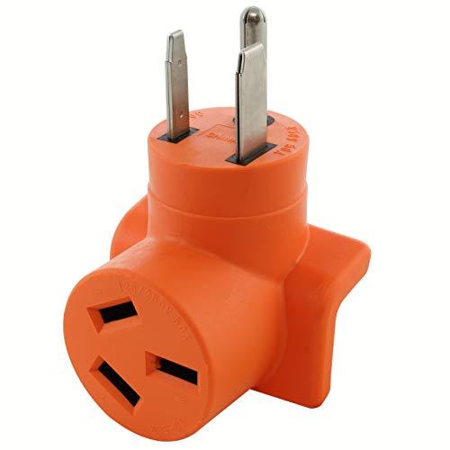 AC WORKS [WD6501050] 6-50P Welder Plug to 10-50R 3-Prong 50A 125/250 Volt Older Dryer/Range Adapter