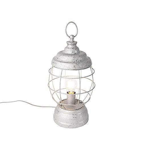 QAZQA Landhaus/Vintage/Rustikal Ländliche Tischleuchte/Tischlampe/Lampe/Leuchte grau - Lentera/Innenbeleuchtung/Wohnzimmerlampe/Schlafzimmer Metall Rund LED geeignet E27 Max. 1 x 40 Wa