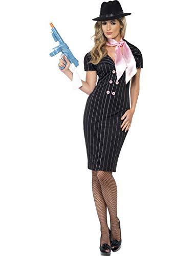 Luxuspiraten - Damen Frauen Nadelstreifen Gangsterbraut Kostüm im 20er Jahre Al Capone Stil mit Bleistift-Kleid und Halstuch, perfekt für Karneval, Fasching und Fastnacht, S, Schwarz