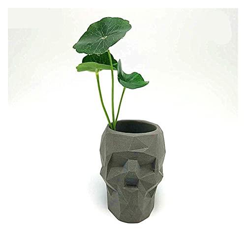 Ziyi Molde de la Maceta del cráneo Abstracto Molde 3D Molde de Silicona de hormigón DIY Titular de la Pluma Candillosa Cemento Molde de Yeso Molde de la decoración del hogar Herramientas (Color : A)