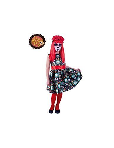 DISBACANAL Disfraz Catrina da de los Muertos para nia - -, 8-10 aos