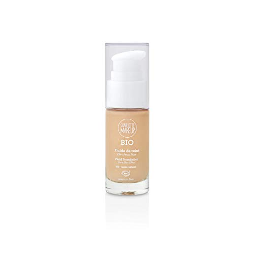 Charlotte Make Up – Base de maquillaje fluida orgánica – Color: marfil natural – Unificar y revelar el brillo del maquillaje – Cubre imperfecciones – Acabado mate natural – Efecto piel nue – 30 ml