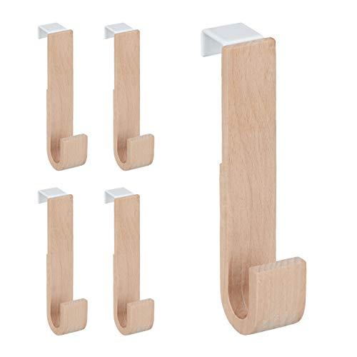 Relaxdays Juego de 5 ganchos para puerta (13 x 2,5 x 6 cm,...