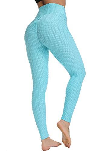 FITTOO Leggins Anti-Cellulite Sportivi Donna Pantaloni Tuta 3D Push up Yoga Pants Sexy Alta Elastico Fitness Ginnastica GP3000 Blu Chiaro S
