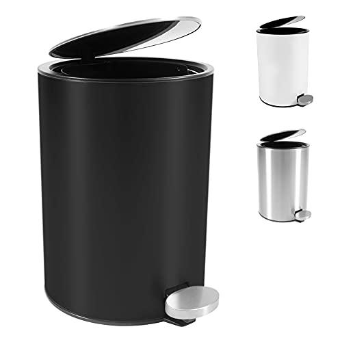 Bamodi Cubo de Basura con Pedal Premium Pequeñas papeleras de baño, Aseo u Oficina - 3L - Papelera de baño de Acero Inoxidable con cesto extraíble - Sistema de Cierre Magic Silent (Negro)