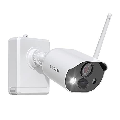 ZOSI Cámara de Vigilancia WiFi Exterior con 7800mAh Batería Recargable, Audio Bidireccional, Visión Nocturna en Color, Alarma de Luz y Sonido, Servicio Nube