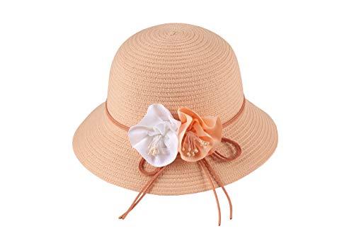 Miuno® Sombrero plegable para mujer, sombrero de fiesta, sombrero de paja con flor, campana H363 rojo Talla única