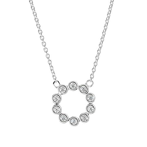 Dew Sterling Silver Open Circle Round Cubic Zirconia 18' Necklace 98428CZ