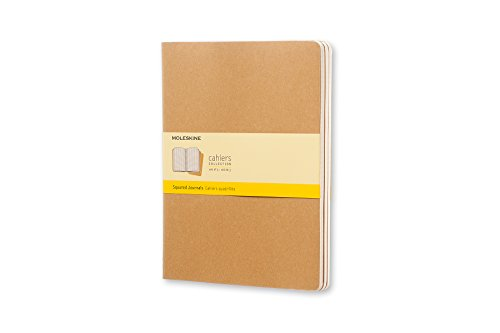 Moleskine - Cahier Journal Cuaderno de Notas, Set de 3 Cuadernos con Páginas, Tapa de Cartón y Cosido de Algodón Visible, Color Marròn Kraft, Extra Grande