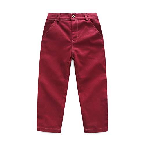 JoJody - Pantalón de bebé para niño de 1 a 5 años para niños pequeños chino pants Straight Leg Flat Front Unim Chino Pant De vino. 2-3 años