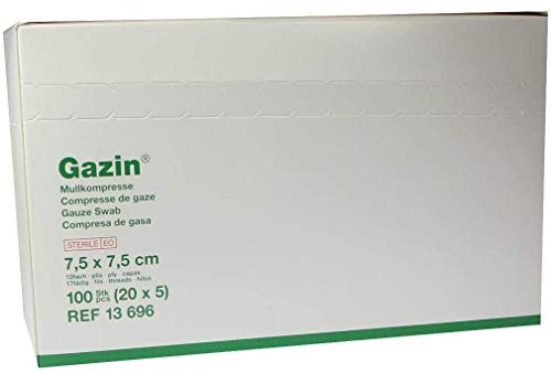 GAZIN Mullkomp.7,5x7,5 cm steril 12fach mittel 20X5 St