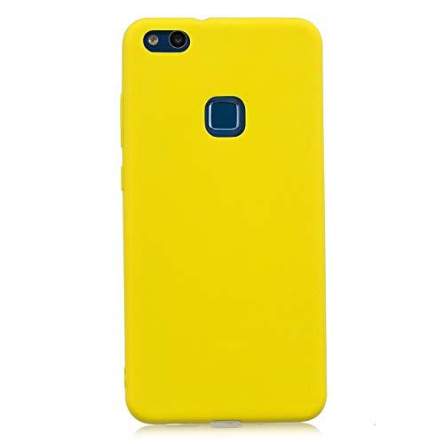 cuzz Funda para Huawei P10 Lite+{Protector de Pantalla de Vidrio Templado} Carcasa Silicona Suave Gel Rasguño y Resistente Teléfono Móvil Cover-Amarillo