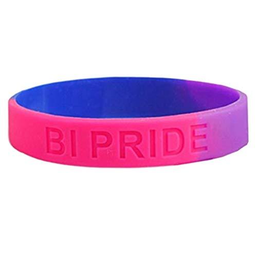 S-TROUBLE 18 Types Unisexe LGBT Rainbow Letters Bracelet de Sport Six Couleurs Gay Lesbian Pride Bracelet en Caoutchouc de Silicone Bracelet Bracelet Parade de fête