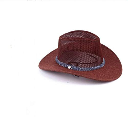 Sombrero De Verano De Malla para Hombres Sombrero Vaquero Protector Solar Transpirable Sombrero De Lino Sombrero para El Sol Sombrero Grande Sombrero para Hombres Hierba