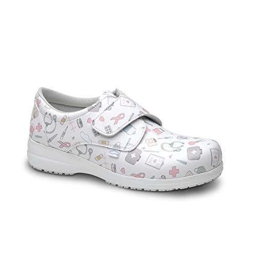 FELIZ CAMINAR - Zapatos Estampados Sanitarios Atom Sanitario/Antideslizantes y Cómodos para Mujer/Clínicas, Veterinarios, Hospital, Geriátricos (39)