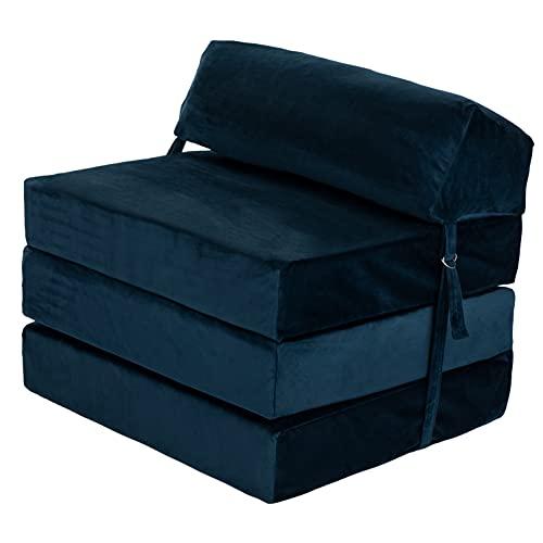 Loft 25 Adult Sofa Futon Z Bed | Soft Velvet Material | Single Fold Out Mattress Chairbed | Ergonomically Designed Zbed (Blue, Velvet)