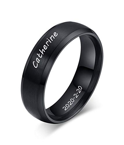 MEALGUET Personalized Engrave Stainless Steel Unisex Brushed Plain Simple Stainless Steel Wedding Band Ring for Men&Women, Black,Size 9