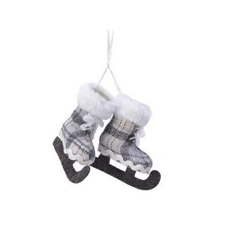 E+N Weihnachts-Deko Schlittschuh-Hänger-Paar weiß dunkelgrau, Höhe x Breite x Tiefe: ca. 9 x 8,5 x 3,5cm, Gesamthöhe: ca. 21cm, mit weißen Textilband-Hänger