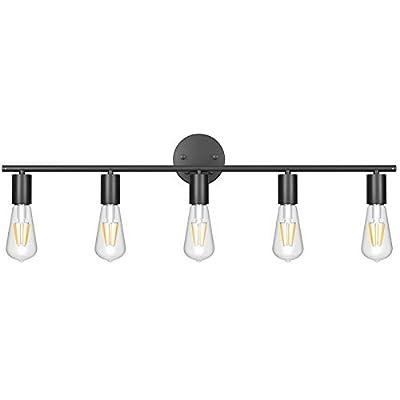 Ralbay Black Bathroom Vanity Light Fixtures-5 Light Industrial Matte Black Wall Sconce, Vintage Edison Wall Lamp Lighting Fixture for Bathroom