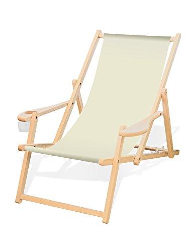 Holz-Liegestuhl mit Armlehne und Getränkehalter, Klappbar, Wechselbezug (Naturweiß)