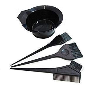 1 lot (4pcs) Plastique Noir Cheveux Dye coloriage DIY Salon de beauté Outil Kit – Brosse à cheveux Coloration de cheveux Bol pour couleur de cheveux Dye Tint DIY Outil de