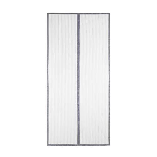 Sekey Magnet Fliegengitter Tür Vorhang für Holz, Eisen, Aluminium Türen und Balkon. Einfache Installation (240 x 140cm, Grau)