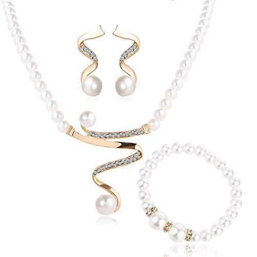 ZOYLINK Hochzeit Brautschmuck Set Strass Perlenkette Mit Perlenarmband Ohrringe