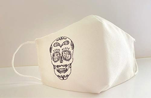 Mascarilla protectora homologada de 3 capas calavera blanca original...