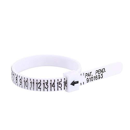 Medidor de medición de anillo medidor de plástico, buscador de tamaños de dedos reutilizable US 1-17 (5 piezas)