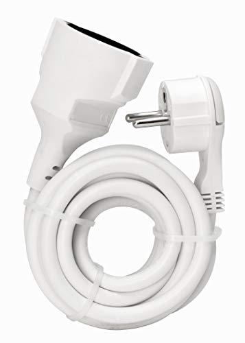 Kopp Verlängerungskabel mit Schutzkontakt-Flachstecker, 2m, IP20, 250V (16A), Stromkabel Verlängerung mit erhöhtem Berührungsschutz, für Innen, arktis-weiß, 143502087