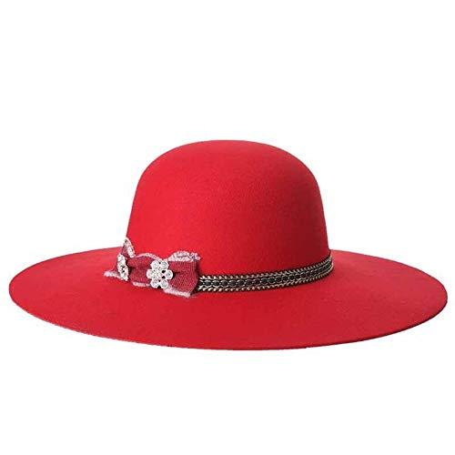 HePing Wu Neuer großer Hutspitzenhut der Woolen Mützenart und weisedamen (Color : Red, Size : 57cm)