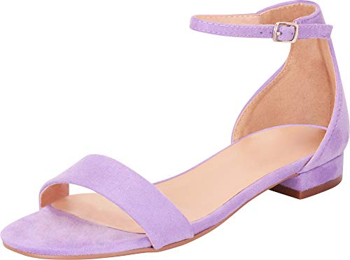 Cambridge Select Women's Single Band Buckled Ankle Strap Low Block Heel Sandal,6.5 B(M) US,Lavender IMSU