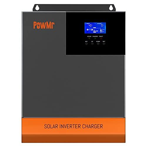 3000W Solar Hybrid Inverter 24V DC to 110V AC, Pure Sine Wave Off Grid Inverter All in One with 60amp MPPT Controller, Max 3000W 100V PV Input ,for 24V Lead Acid/ Lithium Batteries