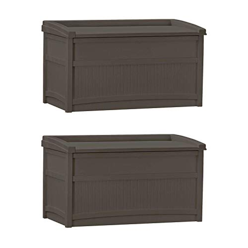 Suncast 50 Gallon Stay Dry Resin Outdoor Deck Storage Box w/Seat, Java (2 Pack)