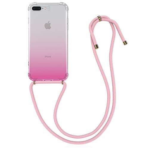 kwmobile Cover a Tracolla Compatibile con Apple iPhone 7 Plus / 8 Plus - Back Case in Silicone Cover con Laccio per Il Collo - Custodia con Cordino - 2 Colori Fucsia/Trasparente