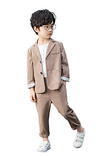 Conjunto de Traje de 2 Piezas para niños Conjunto de Blazer y pantalón Caqui a Cuadros para niños, Ropa de Ocio o Vestido de Fiesta de Boda, Caqui, 120