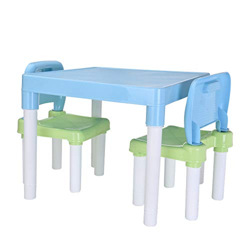 Micozy Kids Table and Chairs Set-Toddler Activity Chair Best for Toddlers Lego, Reading, Art Play-Room (2 Seats with 1 Tables Sets) Little Kid Children Furniture Accessories-Plastic Desk (Light Blue)
