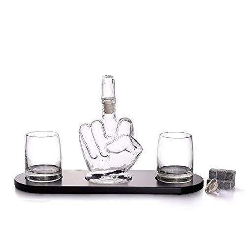 SHENGYUAN Juego de decantador de Whisky y Vasos en Caja de, Juego Original de Cristal para Whisky escocés, Vodka o Whisky, 3 Piezas