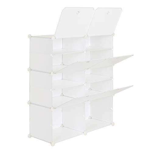 SH Zapatero portátil organizador de 20 pares de estantes de almacenamiento para tacones, botas, zapatillas, 5 niveles blancos (80 x 30 x 90 cm)