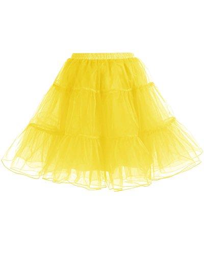 Gardenwed Gelber Tutu Damenrock Petticoat Reifrock Unterrock Kurz Tüllrock Underskirt Crinoline für 50er Vintage Rockabilly Cocktail Kleider Yellow M