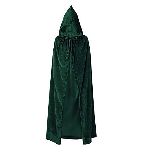 Durio Hooded Cloak Unisex Adult Cloak with Hood Halloween Christmas Cloak Vampire Witch Green Cape Cosplay Costume D Green Medium