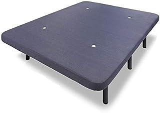 HOGAR24 ES Base tapizada 135 x 190 con 6 Patas metálicas Alto 32 cm y 5 Barras de Refuerzo. Tapizado 3D Color Gris + 4 válvulas de transpiración.