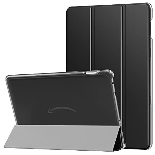 MoKo Funda Compatible con Nueva Kindle Fire HD 10 & 10 Plus Tableta (11ª Generación, 2021 Versión), Inteligente Trasera Transparente Ultra Delgada Soporte Protectora Plegable Cubierta, Negro