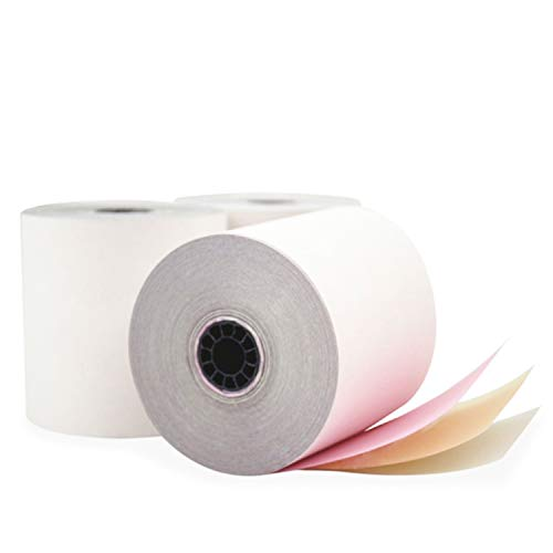 """3-ply 3"""" inch 65' Feet (100 Rolls) White/Canary/Pink Carbonless Kitchen Paper 100 Rolls TMU 220 Paper Ink Ribbon Required Ribbon erc30/34/38 or sp700 Printer Ribbon from BuyRegisterRolls."""