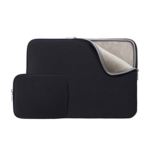 RAINYEAR 14 Inch Laptop Sleeve Protective Case Soft Fluffy Lining Padded Zipper Cover Carrying Bag with Accessories Pouch,Compatible with 14' Notebook Computer Chromebook(Black,Upgraded Version)
