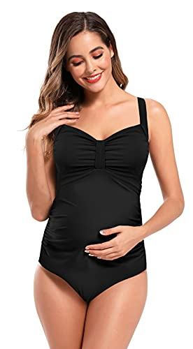SHEKINI Traje de Baño para Mujeres Embarazadas Bowknot Bandeau Swimwear Gathering Monokini Embarazadas Traje de baño de Maternidad Tallas Grandes M-3XL (Negro, 3XL)