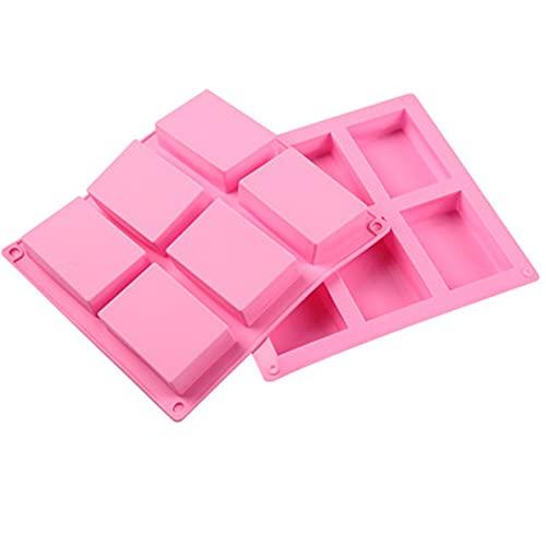 2 Stück Silikon Seife,6Cavity Rechteckige Silikonform Silikonseifenform Seifenform,Förmchen Seife Formen,Cupcakes,Schokolade,Biscuit Hausgemachte Handwerk,Praline,Rosa.