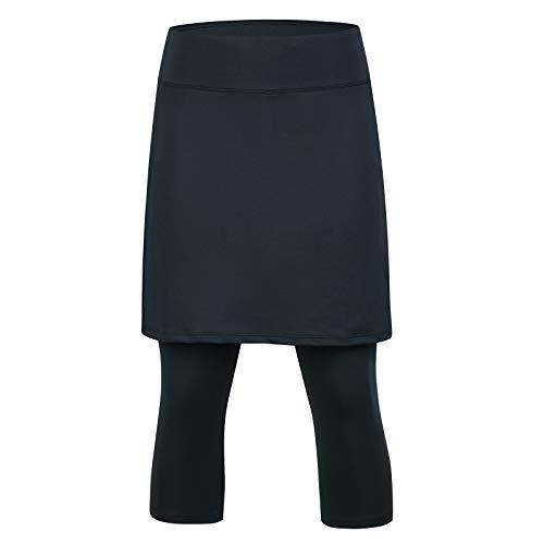 ANIVIVO Skirted Leggings for Women, Athletic Tennis Skirt Knee Length with Leggings Active Yoga Skirt Pockets All Black L