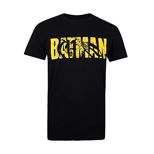 DC Comics Batman Text Camiseta, Negro (Black Blk), Small (Talla del Fabricante: Small) para Hombre
