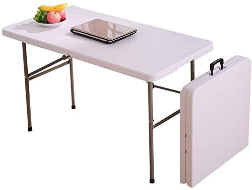 Estaciones trabajo para computadora, mesa comedor plegable para el hogar 120 cm, escritorio, computadora, cámping, buffet, mercado, jardín, fiesta, coche, mesa plegable blanca para interiores y exte